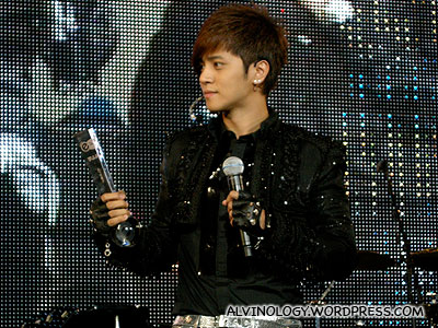 Show Luo with one of his three award trophies