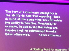 Great Fitzgerald quote about holding opposing ideas and driving change. #onef by pahlkadot
