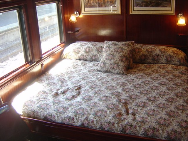 The bed in our suite on Rovos Rail Train