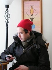 My little elf, deciding whether or not to try to get to work through the snow, 2 Feb, 09