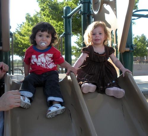 Clara and Ilsa on the slide