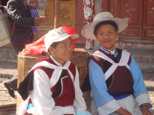 Naxi Ladies Hanging Out in Town Square