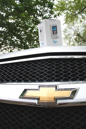 Flip Video camera on Chevy Traverse hood