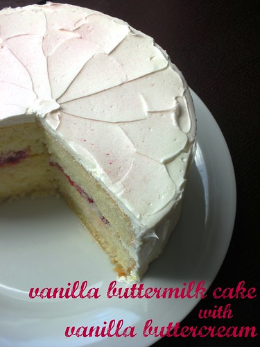 vanilla buttermilk cake with vanilla swiss meringue buttercream