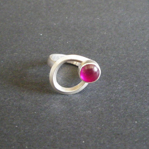 Sterling Silver and Lab Ruby Ring.