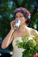 OBB = a pink haired bride with a PBR in one hand & an artichoke bouquet in the other.