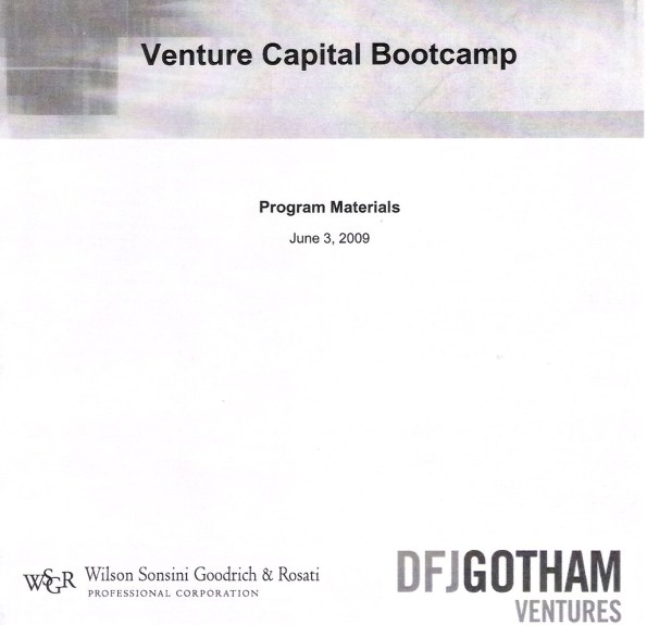 Venture Capital Bootcamp 2009 - Program Materials