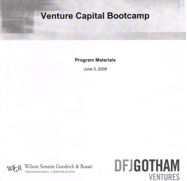 Venture Capital Bootcamp 2009 - Program Materials