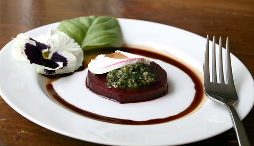 beet and pesto fork