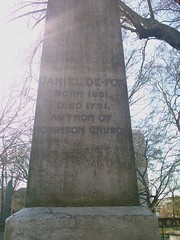 A memorial to Daniel Defoe near his grave in Bunhill Fields