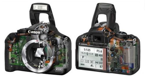 Skeleton view of Canon EOS 450D