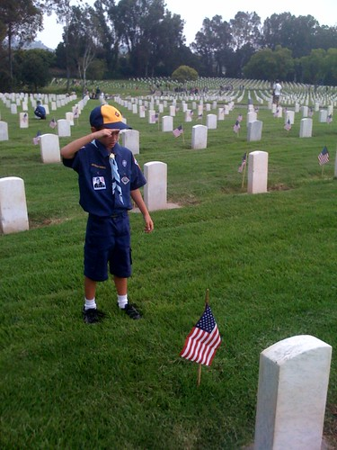 Planting Flags at LA National Cemetary