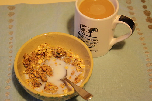 granola, milk, coffee
