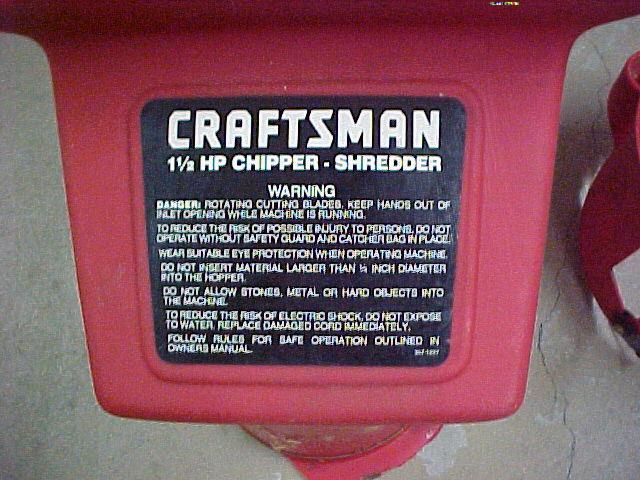 Craftsman Chipper Shredder Label.