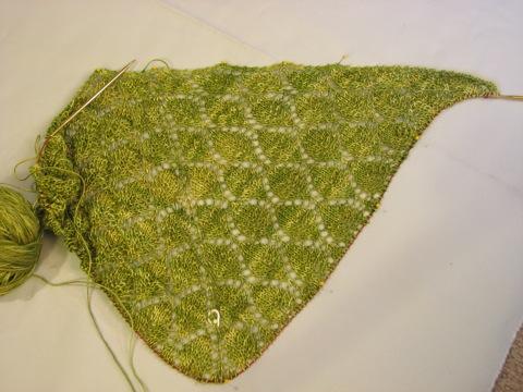 Sea Silk Leaf Lace Shawl: 5 repeats