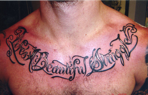 Chest Script Tattoo | Mike Bennett by Mike Bennett Tattoo