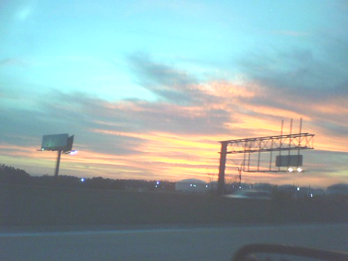 Sunset over the Greensboro tank farm, 1/23/09
