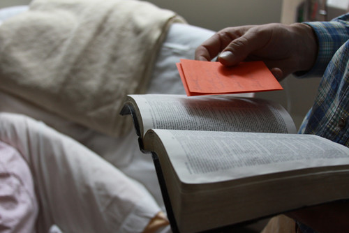 Reading the Bible in the hospital
