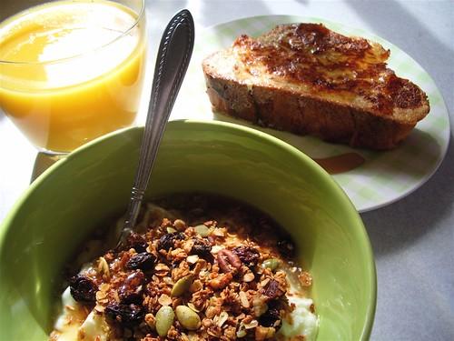 Granola recipe here (dont add the raisins before baking - they burn). Yogurt instructions here.