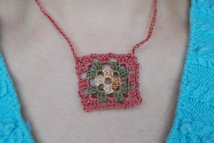 Size 8 crochet thread granny necklace