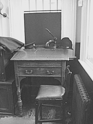 Another desk where a police officer wouldve worked, perhaps writing up case notes for his Sergeant