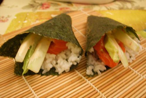 sushi salmon handrolls