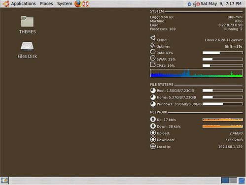 Ubuntu Mini-Workhorse with conky on the desktop