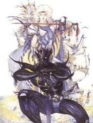 Cecil, como caballero oscuro y como paladín. Yoshitaka Amano.