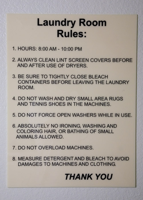 The Laundry Room Rules (pun intended)