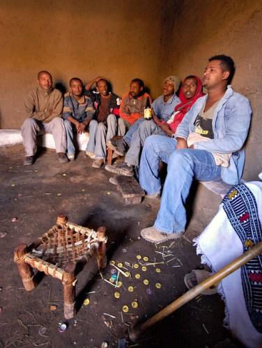 Ethiopian truck drivers having tea