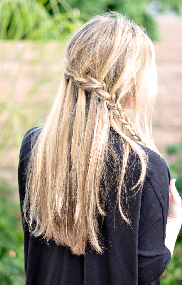 waterfall braid, Partial French Braid Cascade  Hair Tutorial