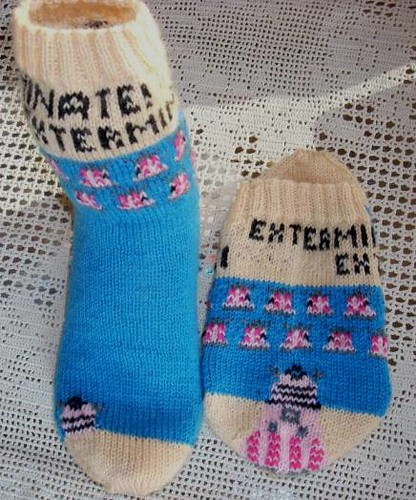 * Dalek socks!  Stranded sock = challenging to knit, but worth it!  ;)