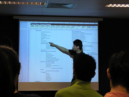 During my IA presentation - showing a content inventory