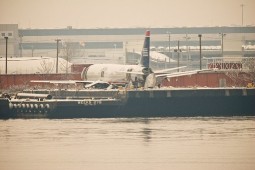 US Airways Flight 1549 on a barge in Weeks Marina