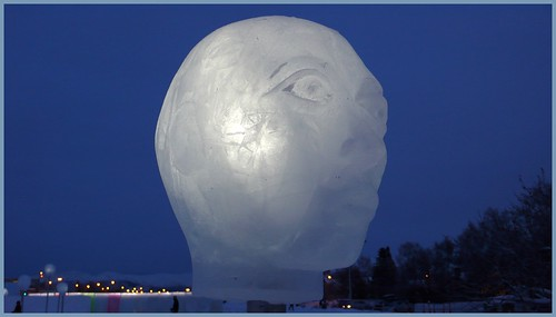Frozen head art installation, Delaney Park, Anchorage.