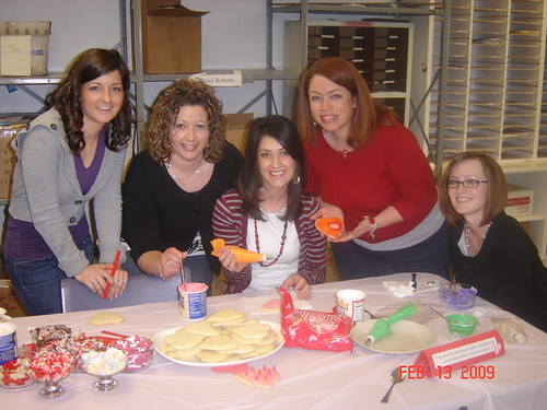 Heres Jennie Beardshall and Brooke Mathewson (from Events), Brandy, Susan and Katie (our receptionist) showing off their cookie-decorating skills.