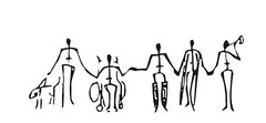 row of black stick figures holding hands, one in wheelchair, one with leg braces, one with crutches, one a child