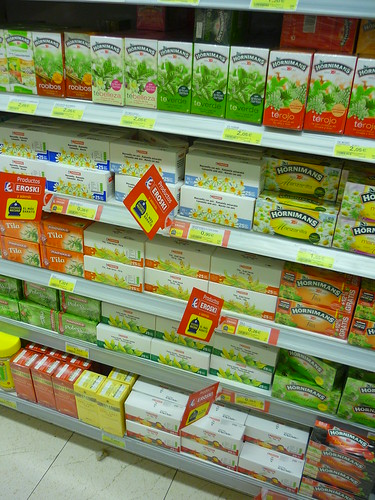 Tea section in the supermarket