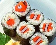 Disney's Nemo cut up into sushi rolls
