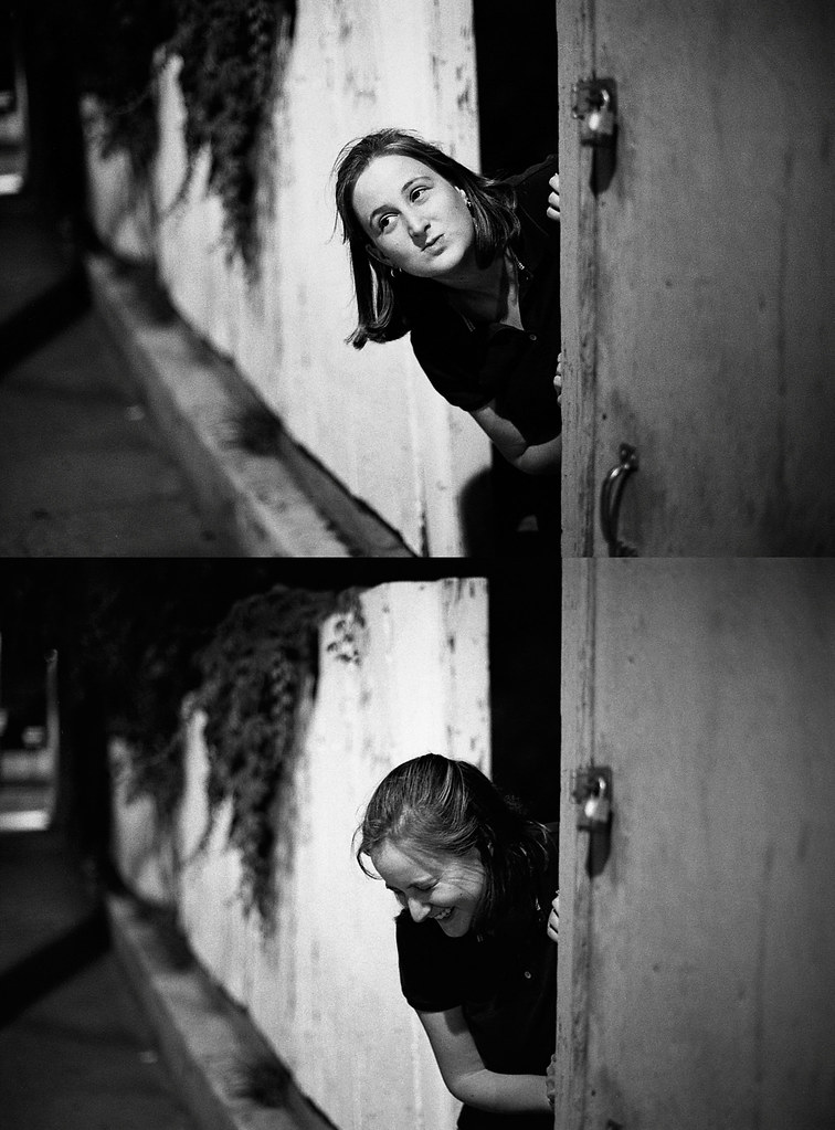 two pictures of valerie peeking out from behind a garage