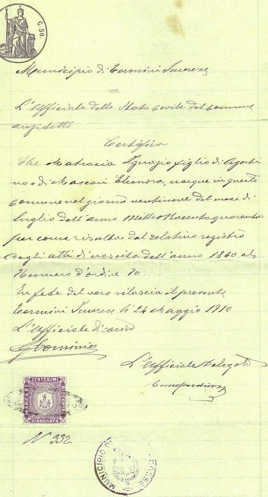 Birth Certificate-Ignazio Mat[racia]
