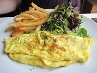 atmosphere - omelet with green onions and oyster mushrooms