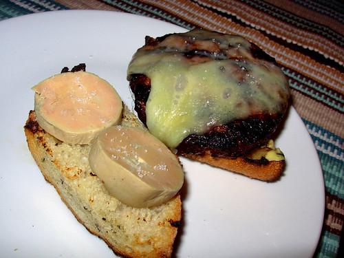 Grilled burger with foie gras torchon