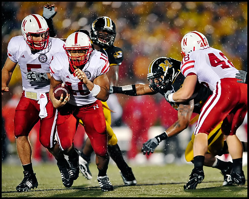 Missouri senior defensive end Brian Coulter lunges after Nebraska junior running back Roy Helu Jr. during the fourth quarter.