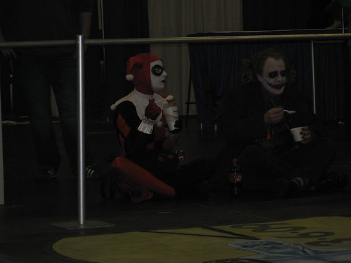 Joker from Batman the Dark Knight (one of several seen that day) with his gf, Harley Quinn, who didnt get to be in the movie but aint mad atcha