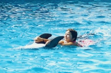 farsi trascinare da un delfino appoggiandosi sulla sua pancia...