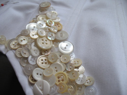 button corset under construction