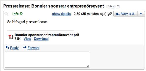 Pressrelease: Bonnier sponsrar entreprenörsevent