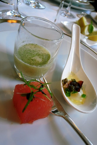 Watermellon, porched egg and lemongrass soup