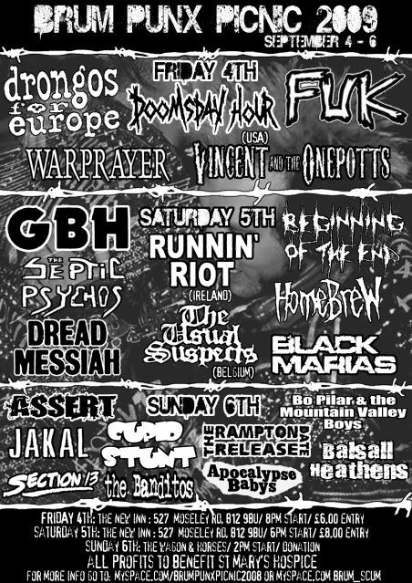 Birmingham Punks Picnic 2009 flyer front